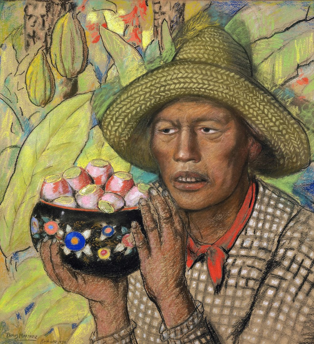 Peón con Tunas / Peasant with Prickly Pear  1930 tempera on paper / temple sobre papel  22 x 21 inches; 55.9 x 53.3 centímetros Private collection