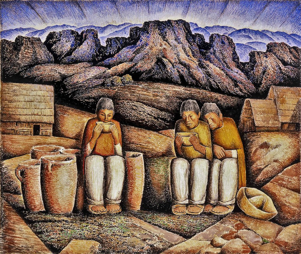 Bebiendo Pulque (Paisaje de Montañas) / Drinking Pulque (Mountain Landscape)  ca. 1940 gouache and tempera on paper / aguada y temple sobre papel 22 x 26 inches; 55.9 x 66 centímetros Private collection