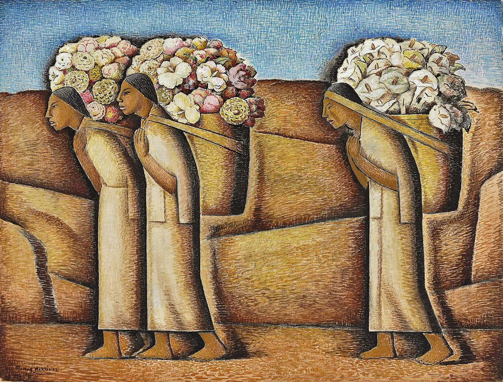 Cerca de Ixmiquilpan / Environs of Ixmiquilpan  ca. 1933 gouache and Conté crayon on paper / aguada y crayon Conté sobre papel 21.1 x 27.6 inches; 53.7 x 70.2 centímetros Private collection