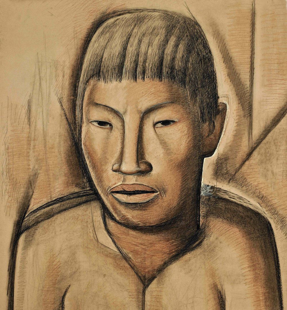 Cabeza de un Joven / Head of a Young Man  ca. 1944 Conté crayon and tempera on paper mounted on board / crayon Conté y temple sobre papel sobre tabla 49 x 45 inches; 124.5 x 114.3 centímetros Private collection