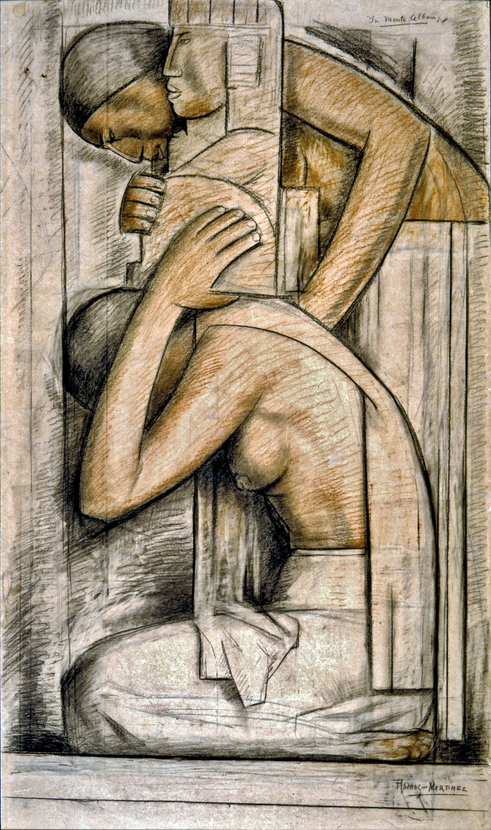 Estudio para Monte Alban / Study for Monte Alban  ca. 1934 charcoal and pastel on paper mounted on board / carbón y pintura al pastel sobre papel sobre tabla 41 x 24 inches; 104.1 x 61 centímetros