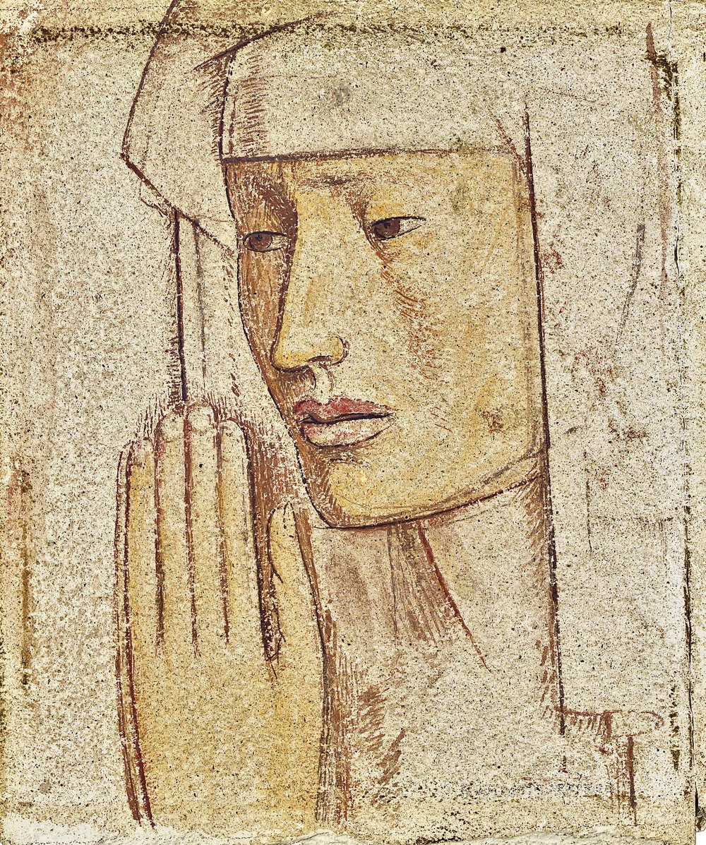 Cabeza / Head  1943 tempera on concrete / temple sobre cemento 11.8 x 10.5 inches; 29.8 x 26.7 centímetros Private collection