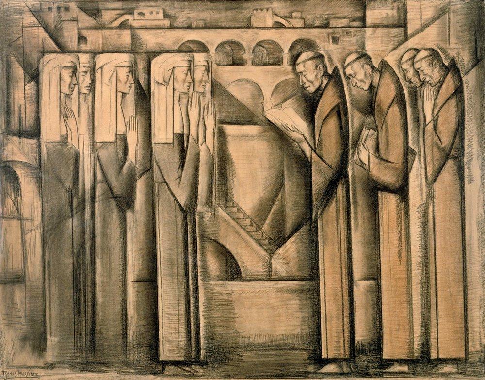 Escena de Mendicantes / Mendicant Scene ca. 1942 Conté crayon and charcoal on paper / crayon Conté y carbón sobre papel 43.3 x 53.5 inches; 109.9 x 135.9 centímetros Santa Barbara Museum of Art