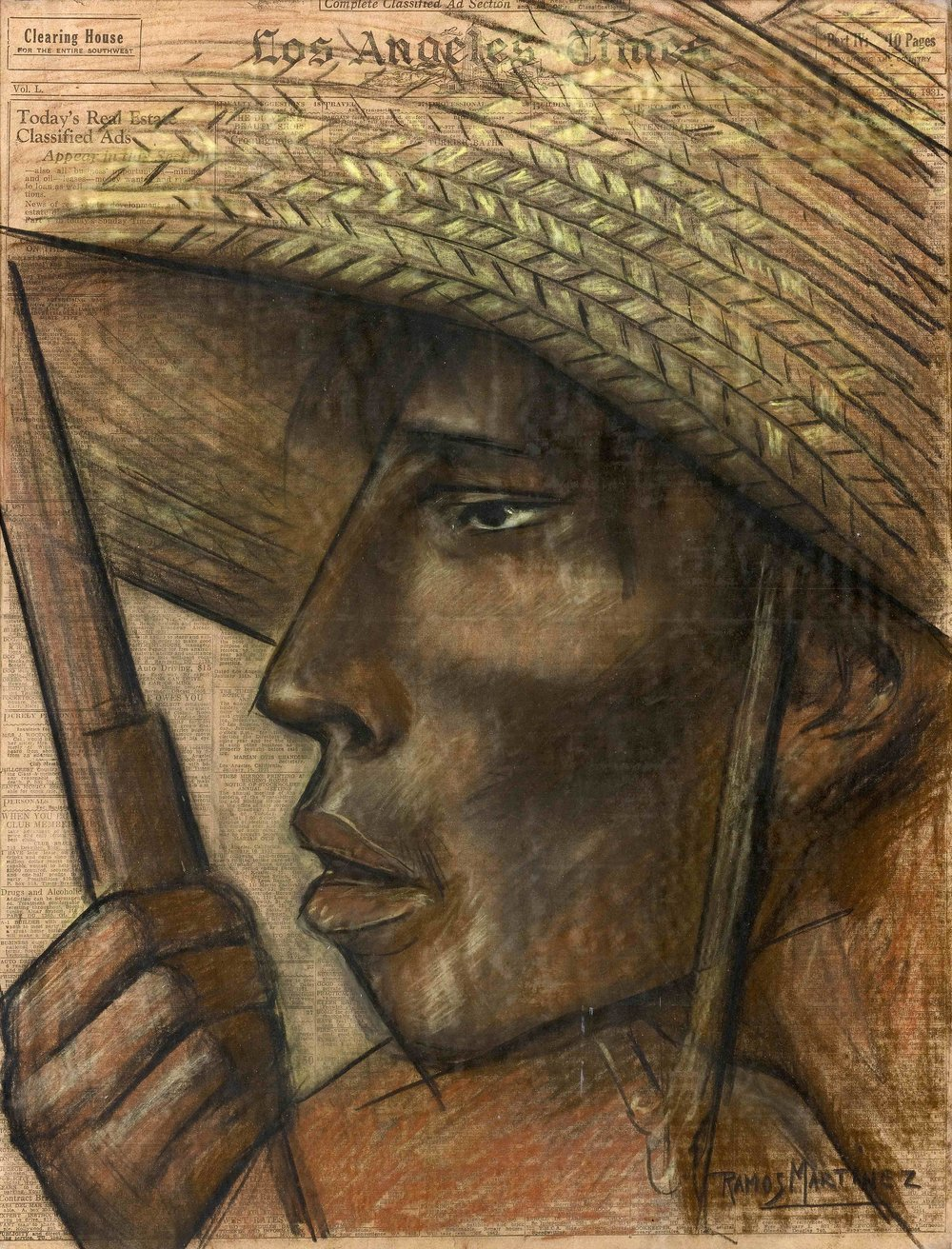 Cabeza de Campesino / Head of a Peasant  1931 charcoal and Conté crayon on newsprint / carbón y crayon Conté sobre papel periódico ( Los Angeles Times , January 25, 1931) 21.9 x 16.6 inches; 55.6 x 42.2 centímetros Private collection