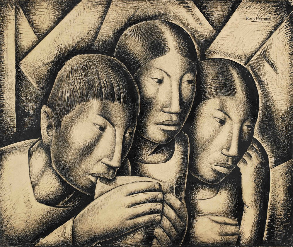 Hermano y Hermanas / Brother and Sisters  ca. 1935 tempera on board / temple sobre tabla 17 x 20.5 inches; 43.2 x 52.1 centímetros Private collection