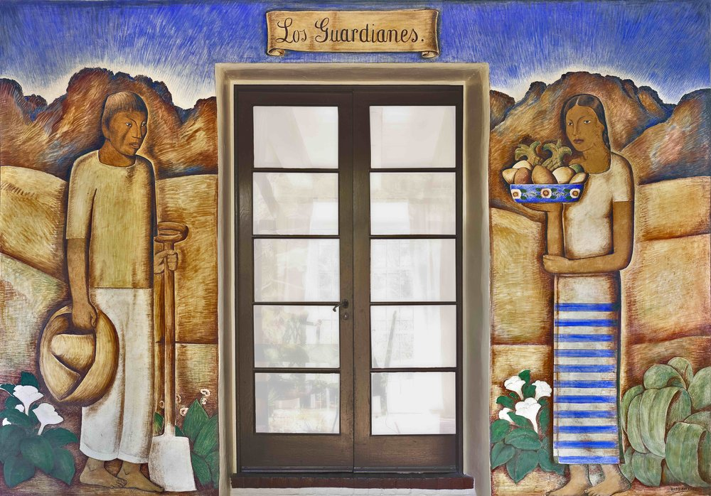 Los Guardianes / The Guardians  1934 fresco for the residence of Henry Eichheim, Santa Barbara