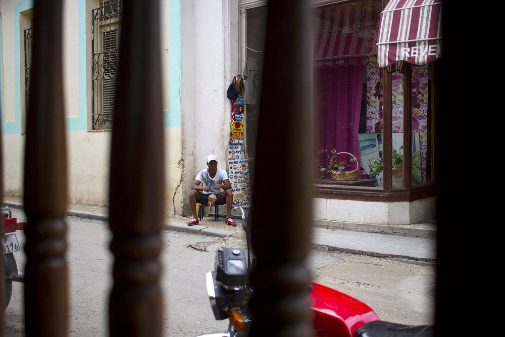 A souvenir salesman in Havana