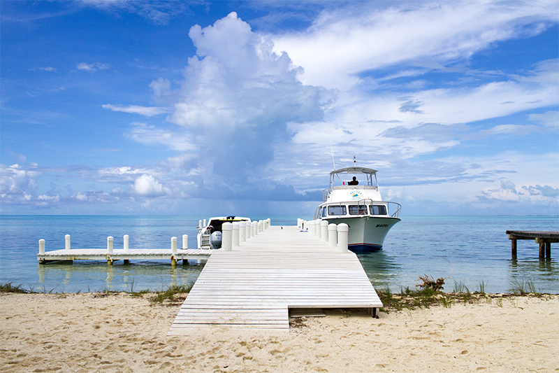 Our dive boat with Belize Diving Services
