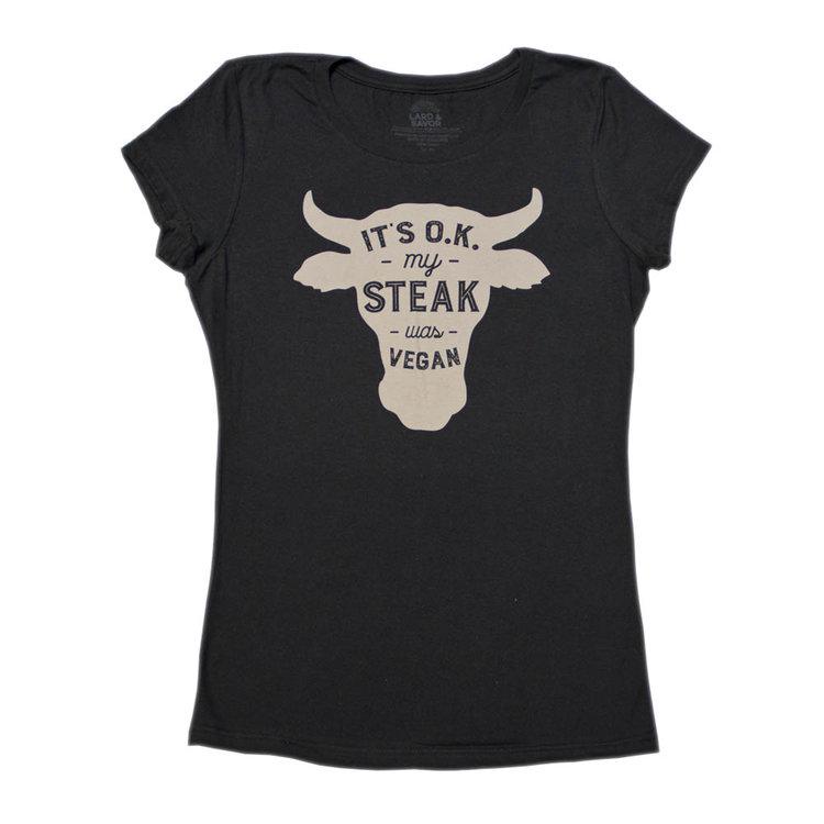Vegan Steak Ladies t-shirt — LARD   SAVOR Funny T-Shirts 831238d1a8