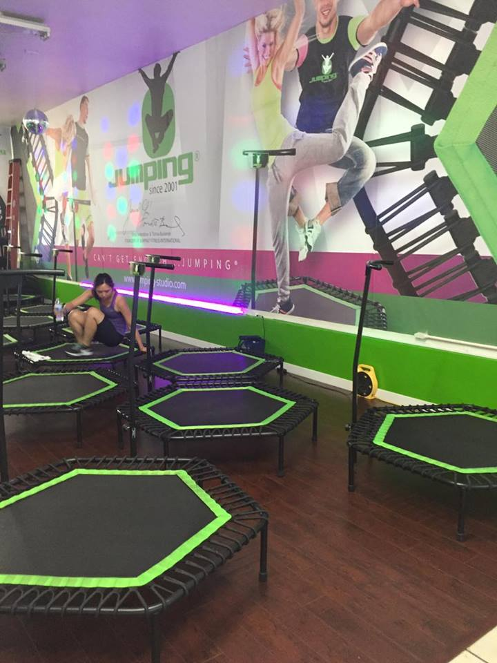 The studio consists of about 10 trampolines.