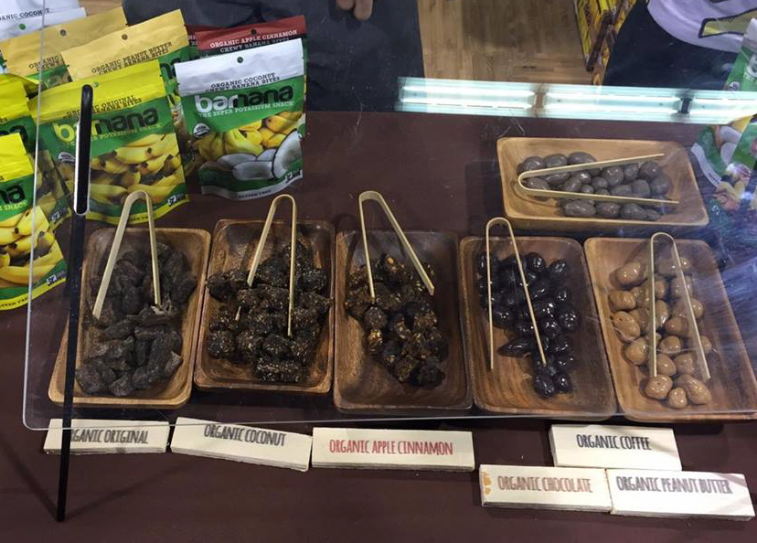 Samples of banana chips & chocolate covered snacks!