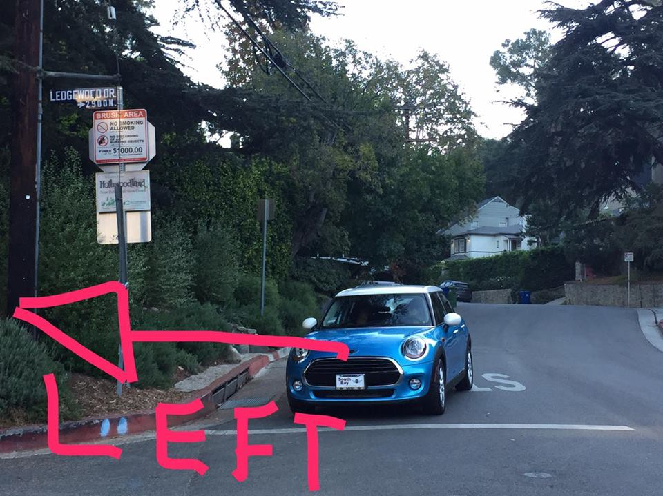 Once you reach LEDGEWOOD DRIVE you will TAKE A LEFT.