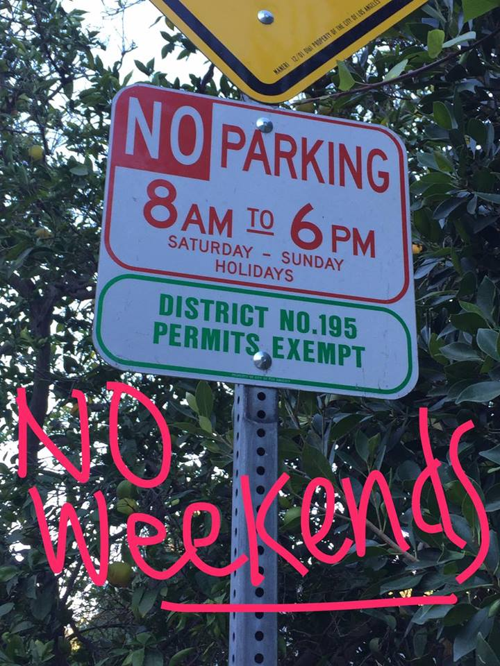 REMEMBER: NO PARKING ON WEEKENDS AND HOLIDAYS unless you have a No. 195 Permit!!!