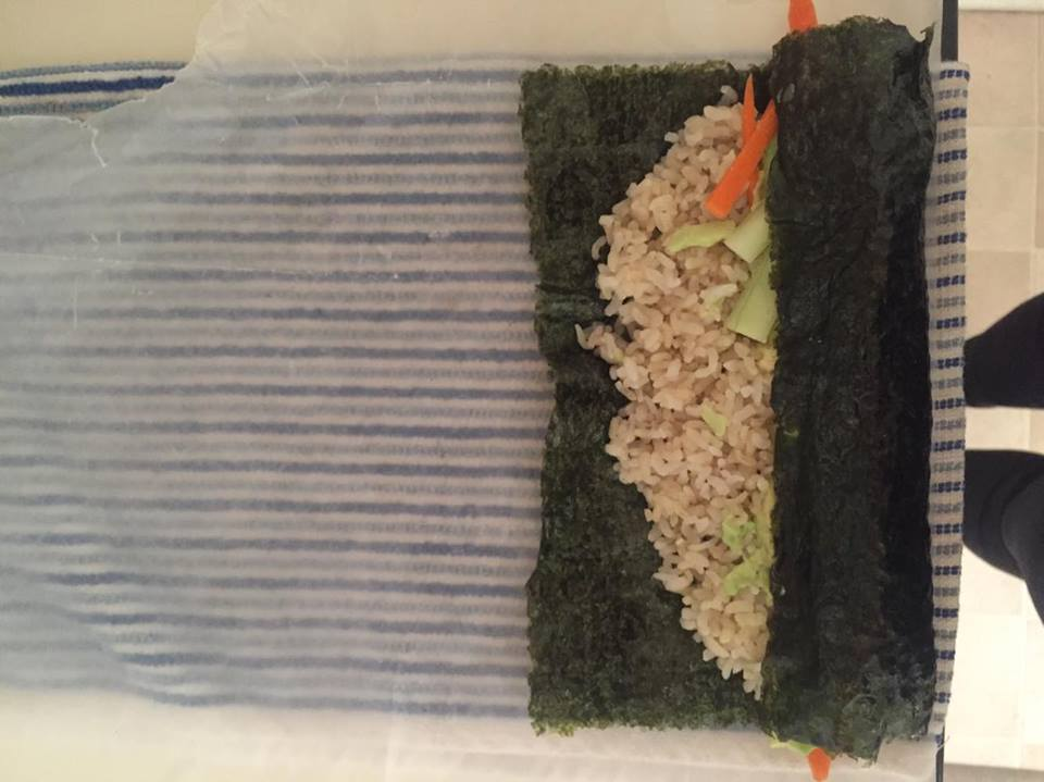 STEP 4: After that make sure to re align the towel, wax paper sheet, and Nori Sheet as shown above.