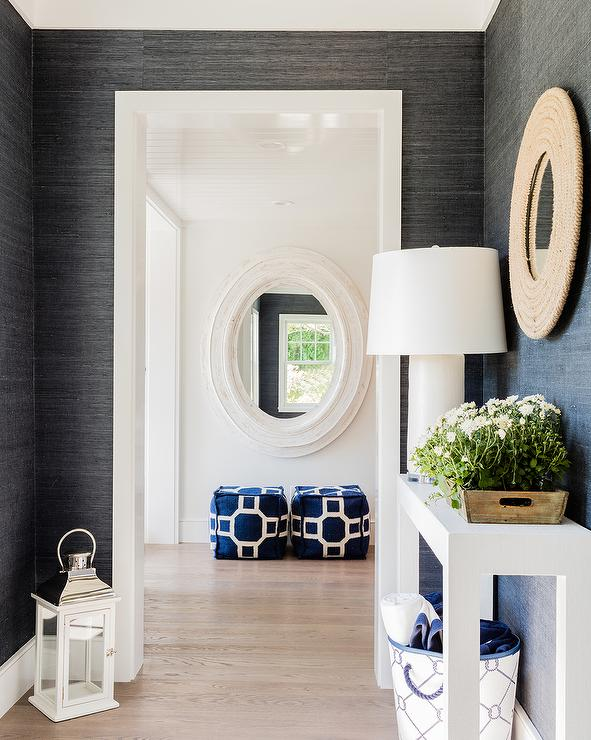 foyer-black-grasscloth-white-console-table-round-rope-mirror.jpg