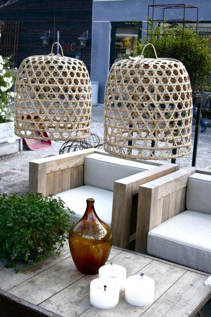 Wicker Lanterns in Modern Backyard