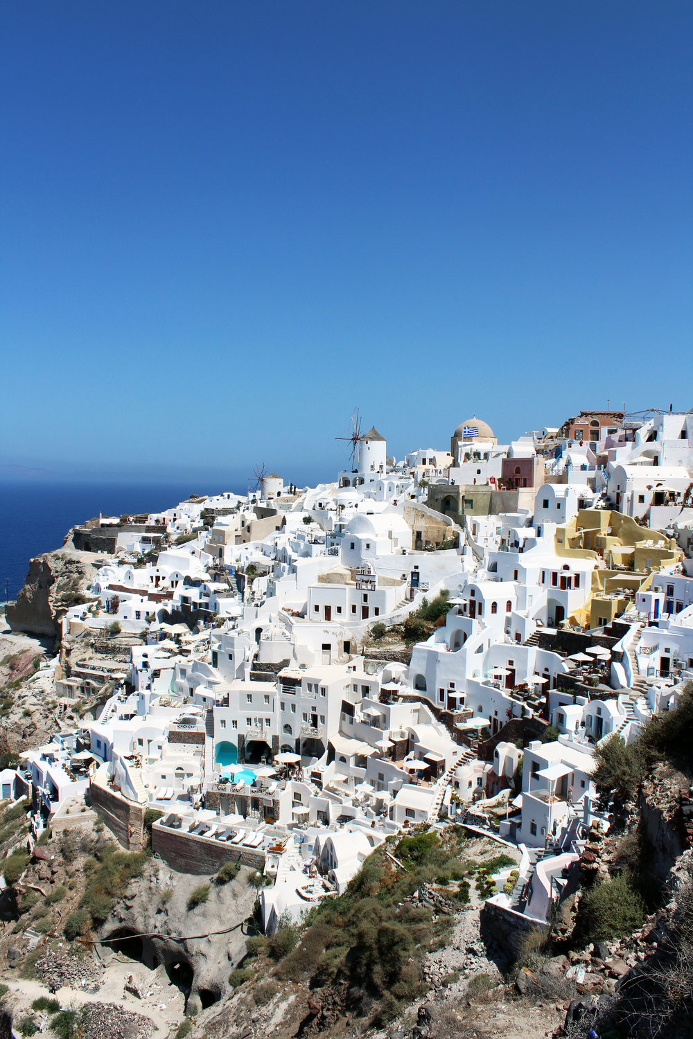 fun fact - There is a reason for an abundance of white and blue exteriors...not only representing the colors of the Greek flag; but white represents purity and blue symbolizes the sky and the sea.