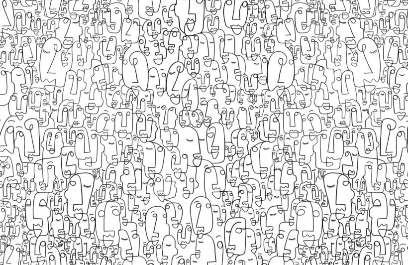 face line drawing wallpaper - Murals Wallpaper || $3.25/sqft