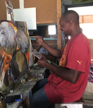 HOPETON CARGILL - I started in 1992 and it has been up and down but I like art. Other artists learn from me, I learnt from Roy Harris in Port Antonio. I love it.