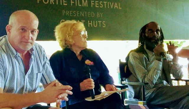 Moderator of Today's Screening Douglas Reid, extra on set Club Paradise with Marguerite Guaron and Carl Bradshaw.