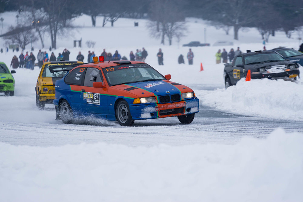 BMW racing at the Lake George Ice Races