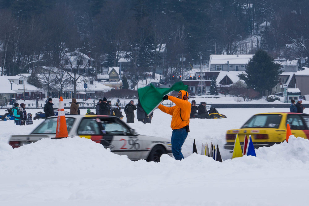 Lake George Ice Races Start Line