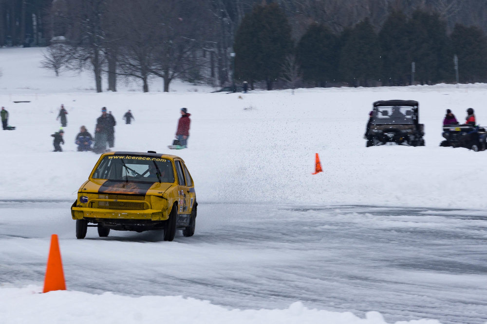 Volkswagen Golf Skidding through a Turn Lake George Ice Races