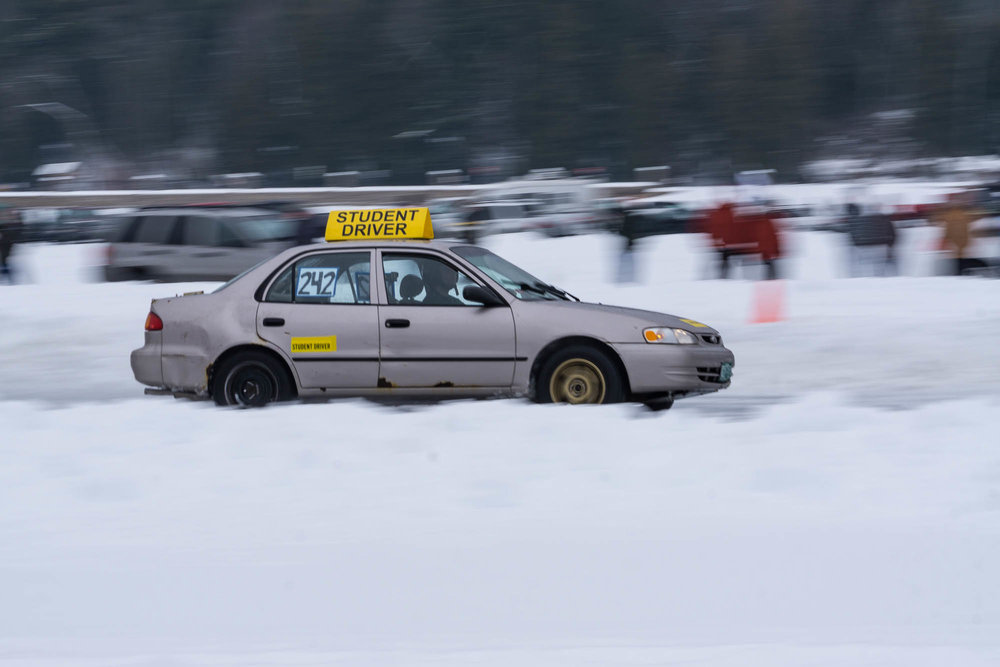 """Student Driver"" car racing in the ice races"