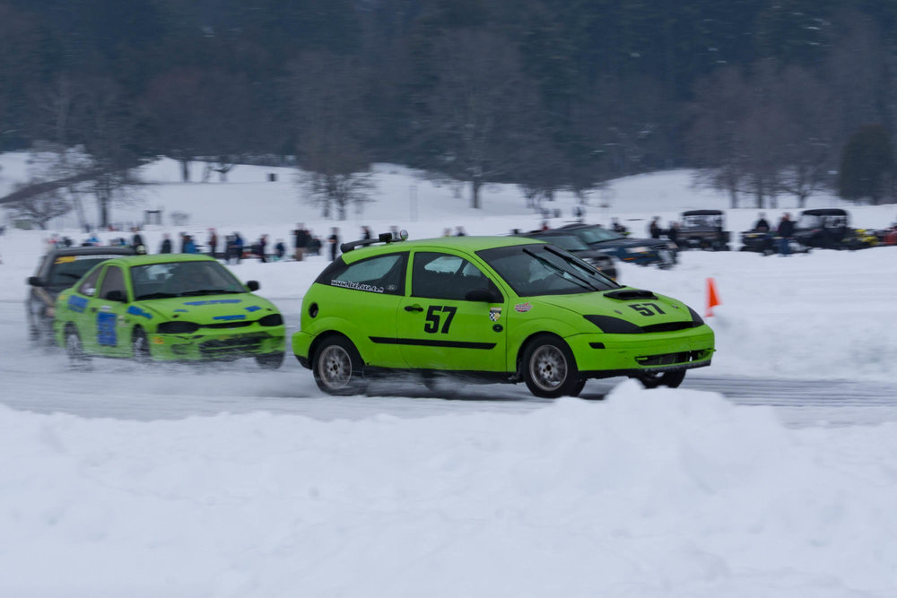 Trio of cars Racing Lake George Ice Races