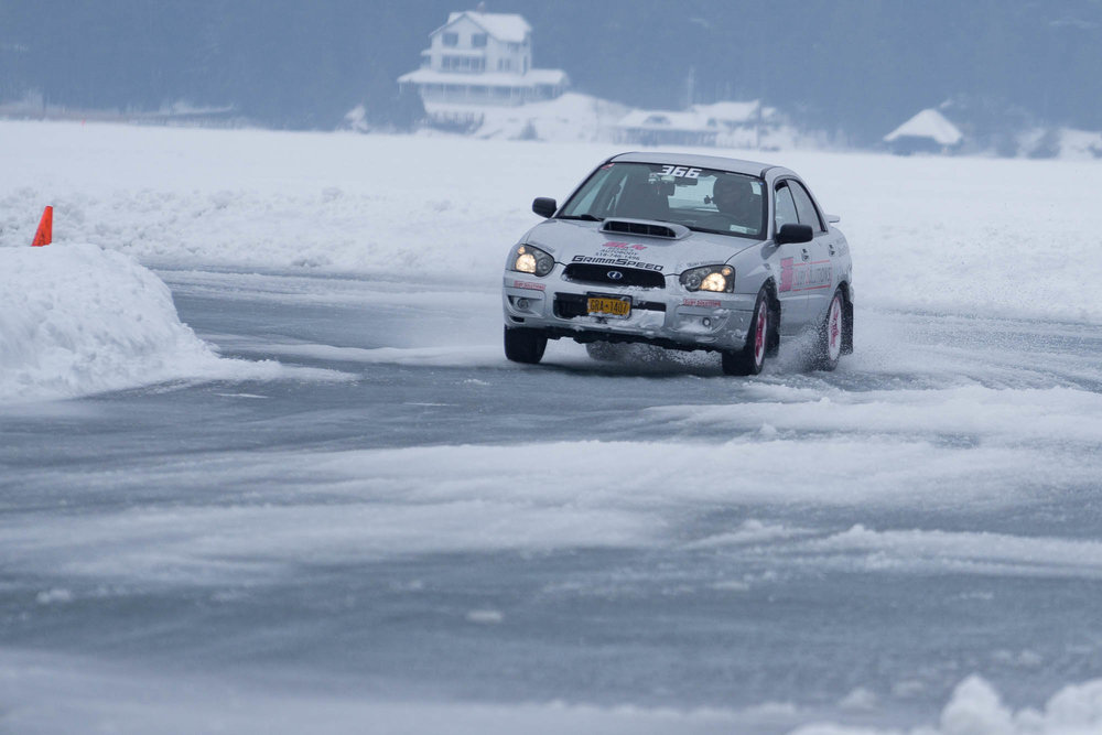 Subaru WRX power-sliding at the Lake George Ice Races