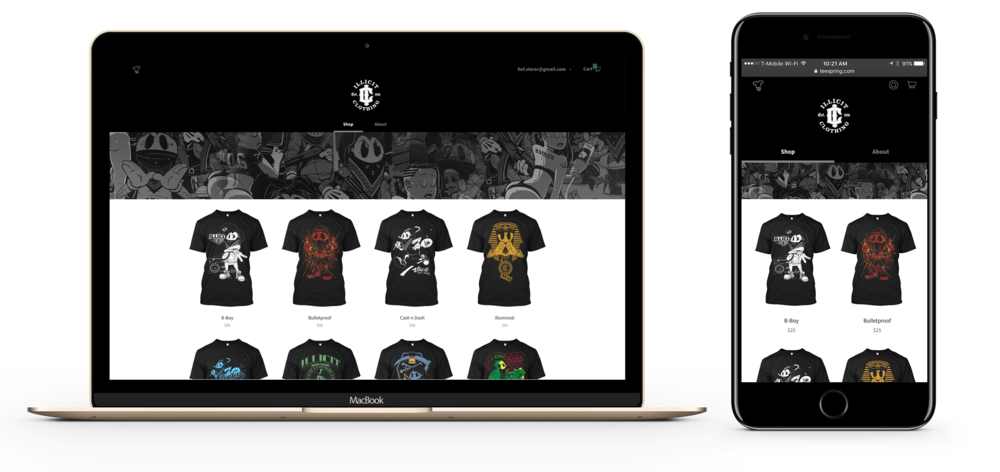 At  Teespring , I helped develop custom storefronts for the Talent Division. I worked with engineering teams to develop custom features for celebrities and artists joining the platform. I also directed the marketing collateral and asset development for paid marketing services and creative direction.