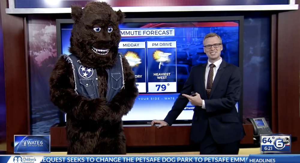 Trashsquatch does the weather on Knoxville's ABC affiliate