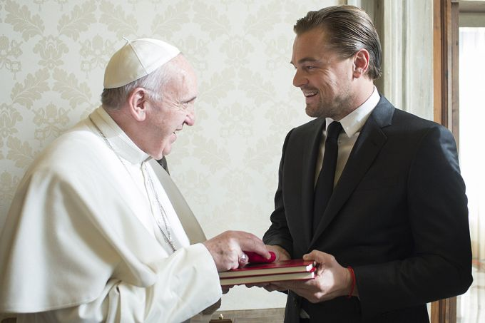 Pope Francis meeting with my first love, Leonardo DiCaprio! Or second.  Kirk Cameron was first.