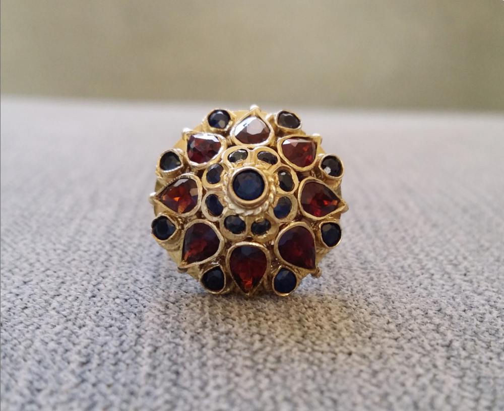 From PenelliBelle on Etsy - $700 - from the 1960s, Garnets and Sapphires
