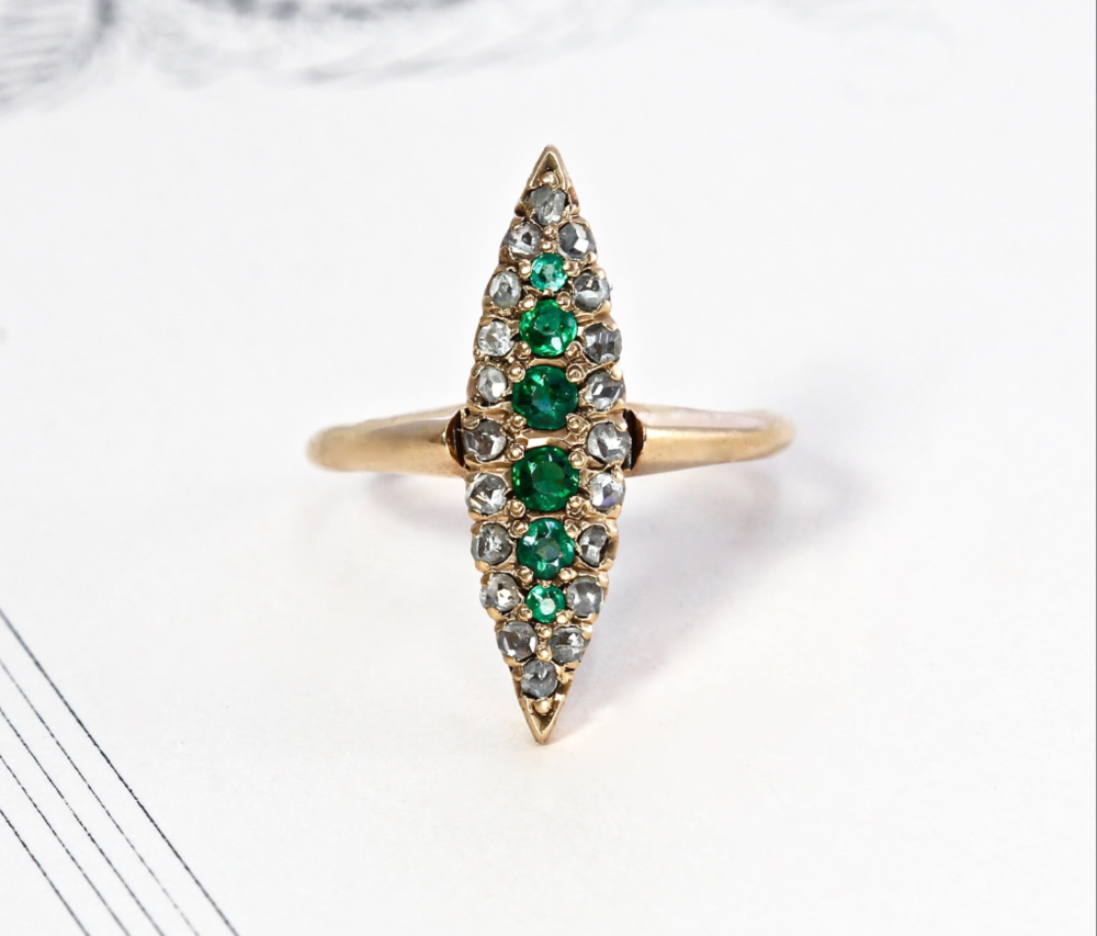From TheEdenCollective on Etsy - $645 - from the 1800s, Emeralds and Diamonds Drool. And...pretty sure this could be a weapon.