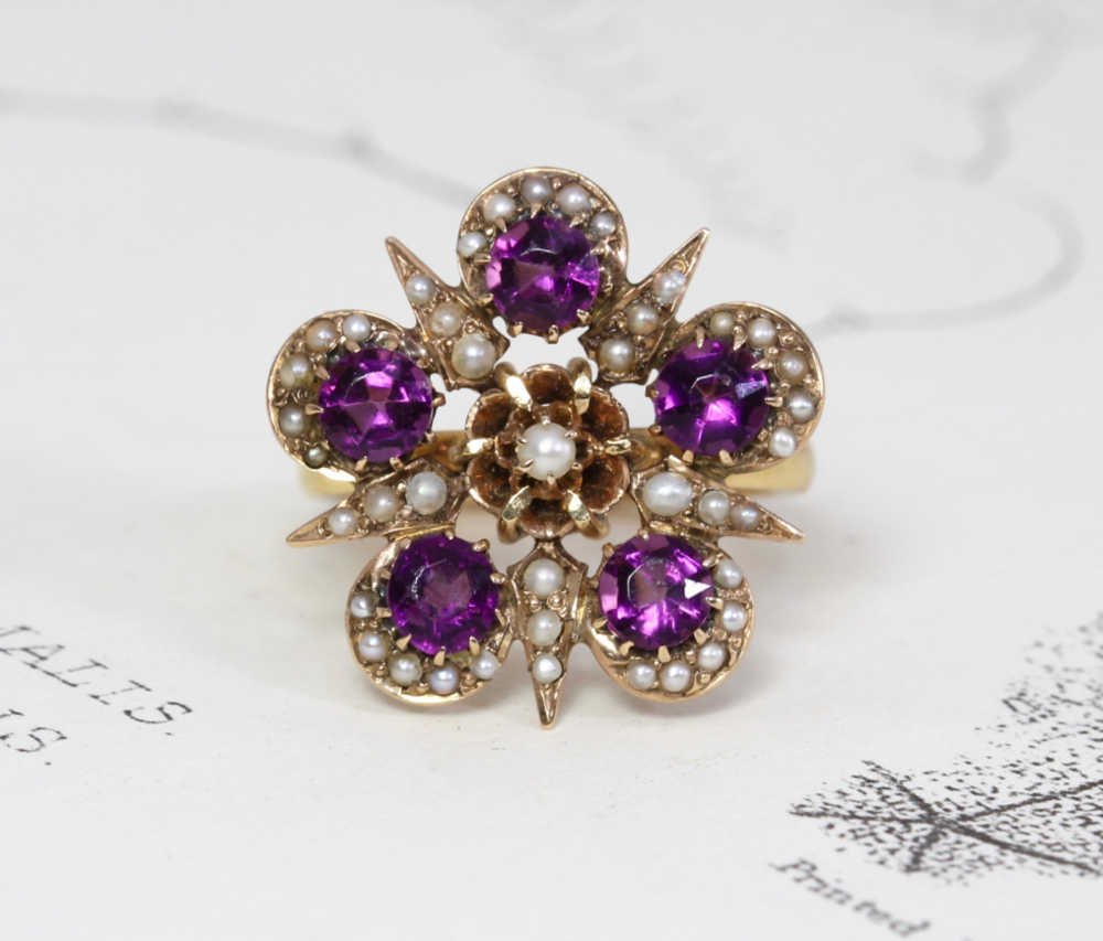 From TheEdenCollective on Etsy - $845 - from the 1900s, Pearls and Amethyst Sigh. Me want......