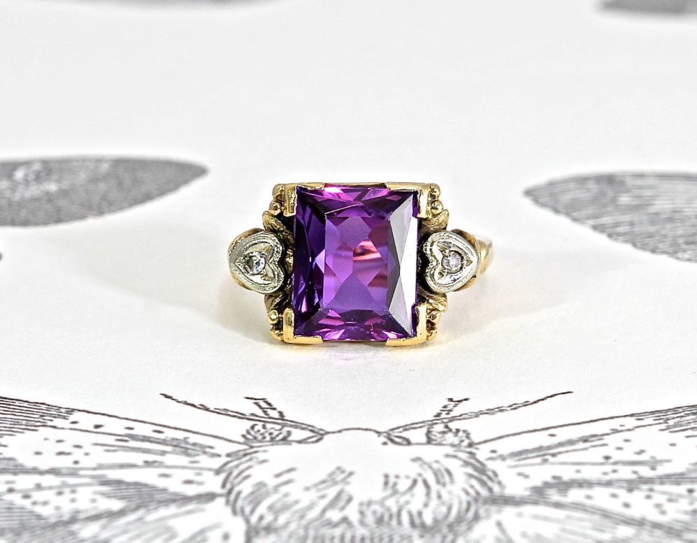 From TheEdenCollective on Etsy - $350 - from the 1930s, Purple sapphire and diamonds Purple sapphire? I didn't even know that was a thing!