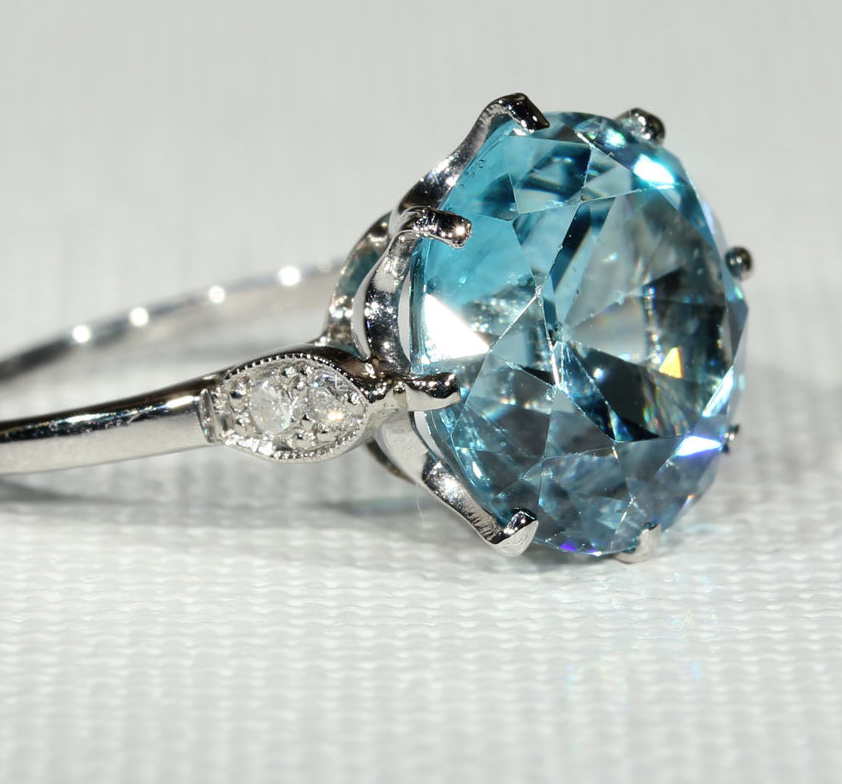 From VictoriaSterling - $3,808 - from the 1920s, Blue Zircon and Diamonds