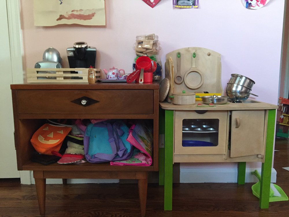 Nightstand: Craigslist; Wood Play Kitchen: Craigslist