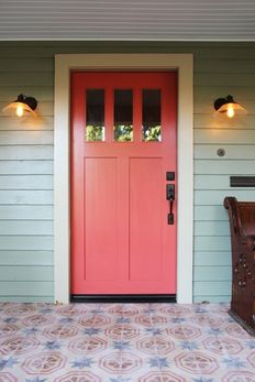 Image Credit:  Pinterest   This coral is more pink (yum!).  And, how do I get a patterned porch like that?! Love it.