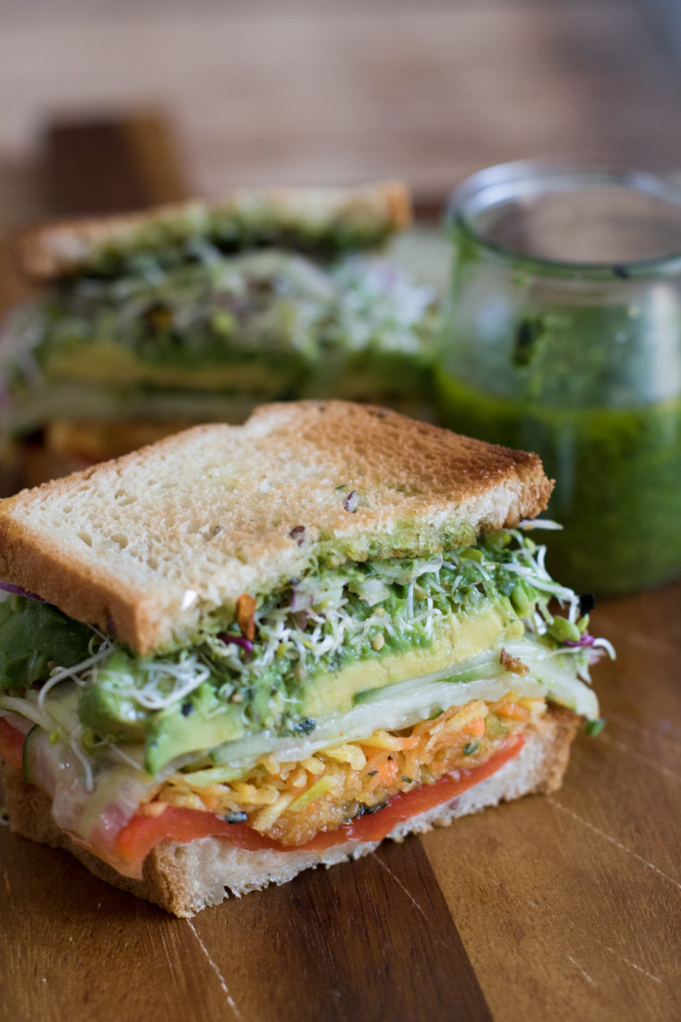 The very vegan jalapeño pesto sandwich from alextcooks.com
