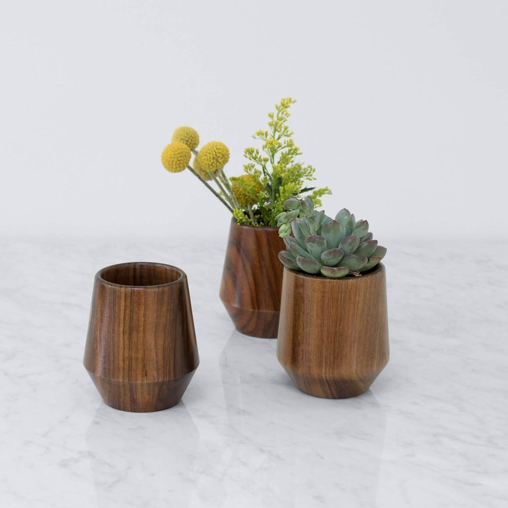 Primavera Vase  - $45 for a single one, $125 for a set of 3 - handcarved from Tzalam wood - omg. look at that wood grain! I love good wood! That's what she said...