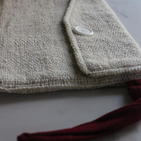 Handwoven Wool Clutch  (man translation: small purse you hold in your hand) - $40 - Woven with all natural non-dyed wool, with cotton wriststrap