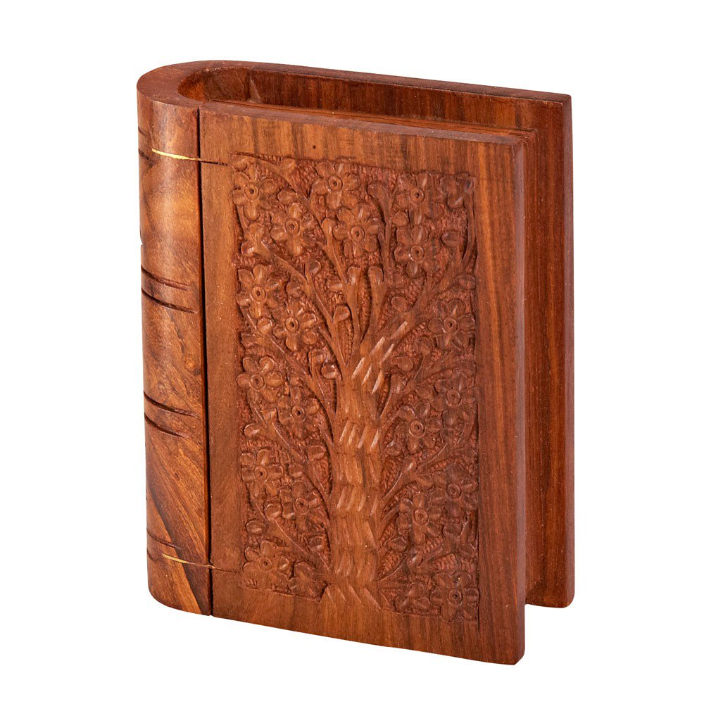 Hidden Secrets Book Box - $30 - Carved out of Sheesham wood from Northern India