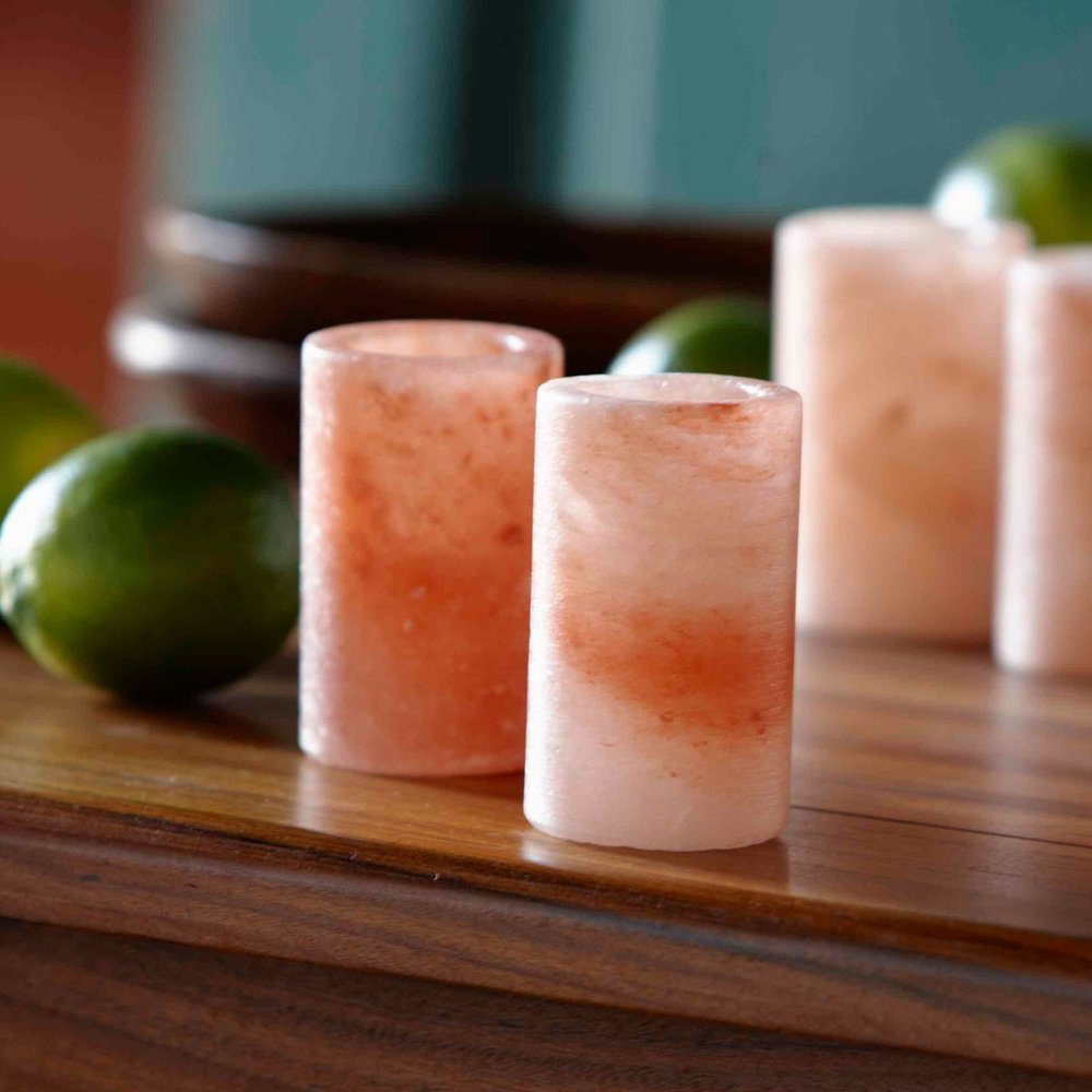 Salt Crystal Drink Glass Set  -$50 - Carved out of pink Himalayan salt