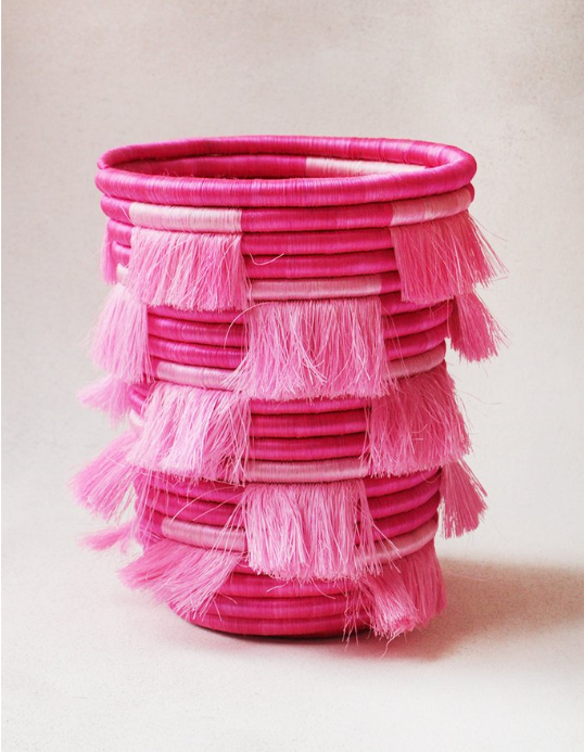 "Eyelash Fringe Catch-All Pink  - $125   - handwoven sisal and sweetgrass - 8"" x 9""tall - comes in bigger and smaller sizes"