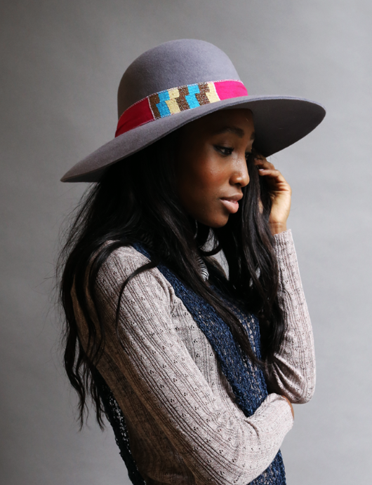 "Pink & Grey Kente Hat  - $95 on sale!   - 6.5"" x 7.5"", 3.5"" rim"