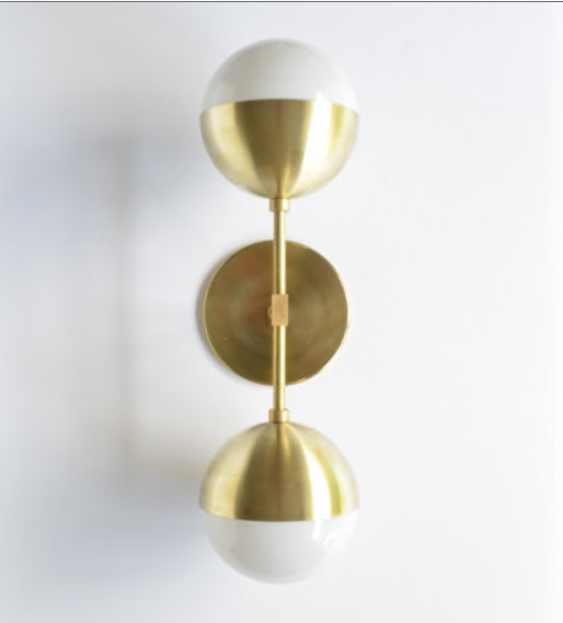 MODERN BRASS LIGHT FIONA by Triple Seven Home on etsy.com - $200 - solid brass and opal glass (sorry for the blurriness, this is the picture from their Etsy posting)