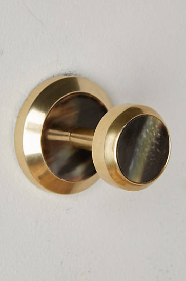 ALVEAR TOWEL HOOK from Anthropologie - limited quantities available - $20 on sale - brass and natural horn - this will on the wall next to the enclosed shower so that the shower-taker can just stick their hand out the door, grab the towel real quick, and then shut the door before the cold gets in.