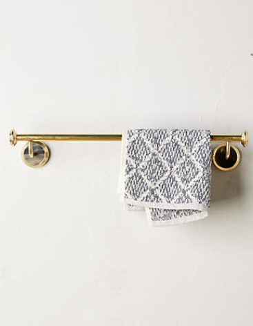 ALVEAR SMALL TOWEL BAR from Anthropologie - limited quantities available - $50 on sale - brass and natural horn